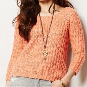 Anthropologie knitted & knotted sunstitch sweater